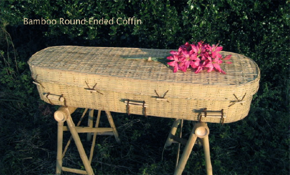 Bamboo round-ended coffin