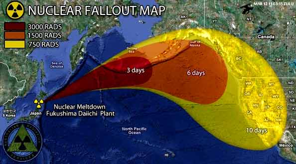 fukushima radiation nuclear fallout map