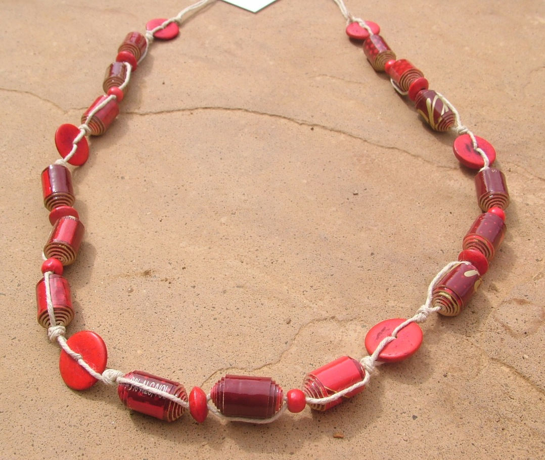 2-Johnny Walker Red Label necklace with coconut discs  red wood beads on hemp