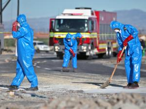 Delft - Hazmat response services sweep up the toxic chemicals