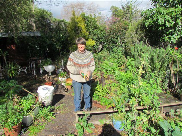 Tracy in her healing garden