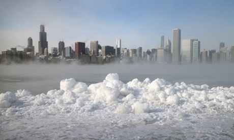 Ice builds up along Lake Michigan as temperatures dipped well below zero on January 6, 2014 in Chicago, Illinois. Chicago hit a record low of  -16 degree Fahrenheit this morning as a polar air mass brought the coldest temperatures in about two decades into the city.  Image: Scott Olson/Getty