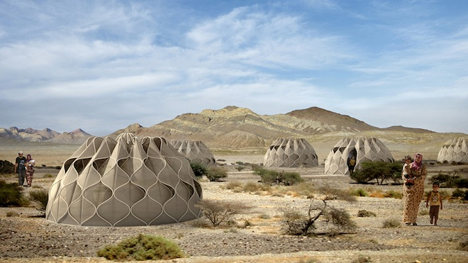 Collapsible solar-powered refugee shelters-1