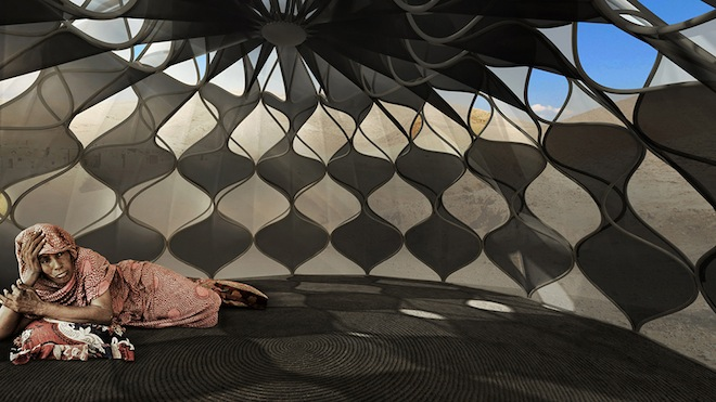 Collapsible solar-powered refugee shelters-3