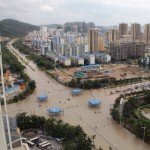 flooded streets after rainstorms triggered by Typhoon Haiyan hit China