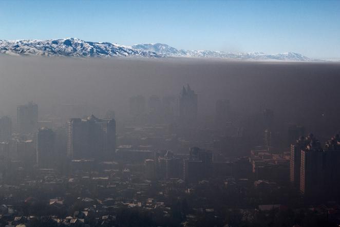 Smog over Almaty city, Kazakhstan, Wikimedia