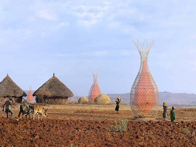 Design firm Architecture & Vision created dew collecting WarkaWater Towers