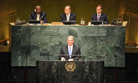 Al Gore, Chairman of Generation Investment Management, speaks during the opening ceremony of the climate summit at the UN headquarters. Image: Xinhua News Agency/REX