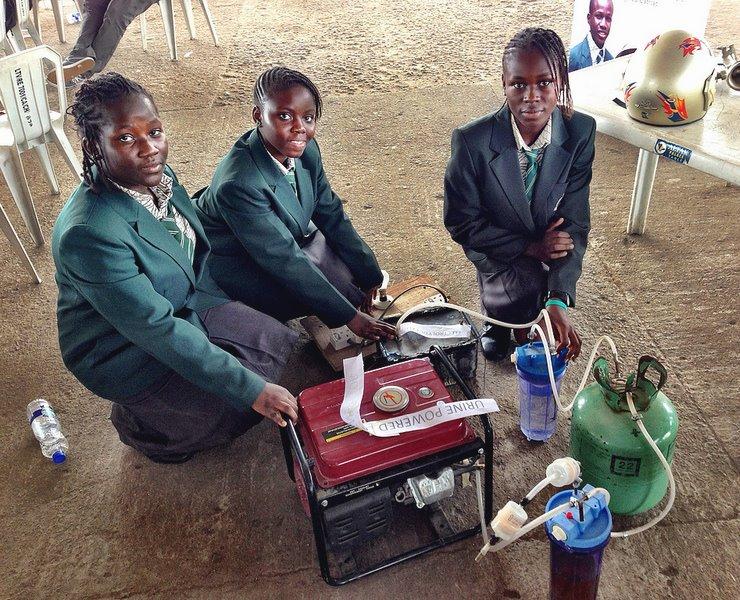 Four Nigerian girls urine powered generator