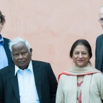 Alan Rusbridger (left), Basil Fernando, Asma Jahangir, and Bill McKibben (right)