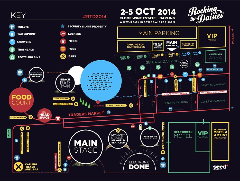 Rocking The Daisies 2014 - festival layout