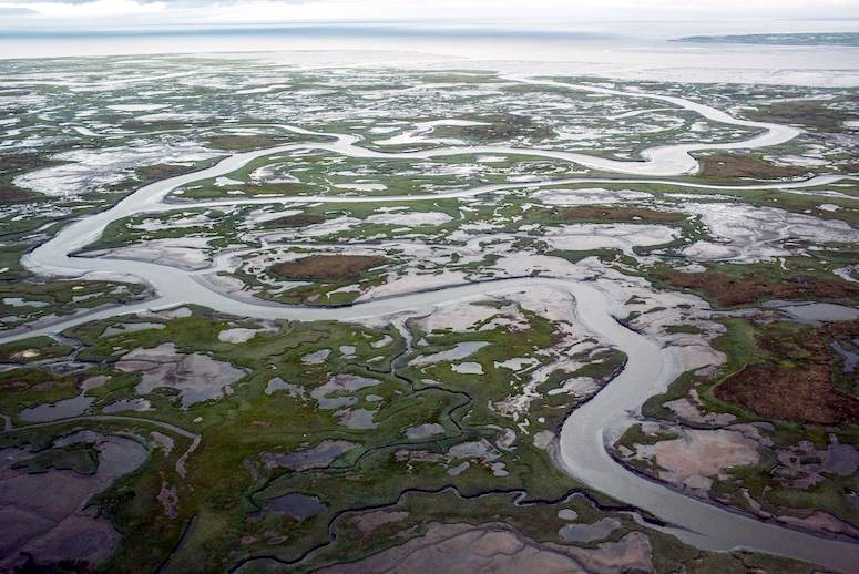 NEWTOK, AK - JULY 06: The marshy, tundra landscape surrounding Newtok is seen from a plane on July 6, 2015 outside Newtok, Alaska. Newtok, which has a population of approximately of 375 ethnically Yupik people, was established along the shores of the Ninglick River, near where the river meets the Bering Sea, by the Bureau of Indian Affairs (BIA) in 1959. The Yupik people have lived on the coastal lands along the Bering Sea for thousands of years. However, as global temperatures rise the village is being threatened by the melting of permafrost; greater ice and snow melt - which is causing the Ninglick river to widen and erode the river bank; and larger storms that come in from the Bering Sea, which further erodes the land. According to the U.S. Army Corp of Engineers, the high point in Newtok - the school - could be underwater by 2017. A new village, approximately nine miles away titled Mertarvik, has been established, though so far families have been slow to relocate to the new village. (Photo by Andrew Burton/Getty Images)