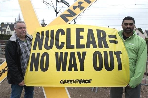 kumi naidoo greenpeace nuclear banner south africa