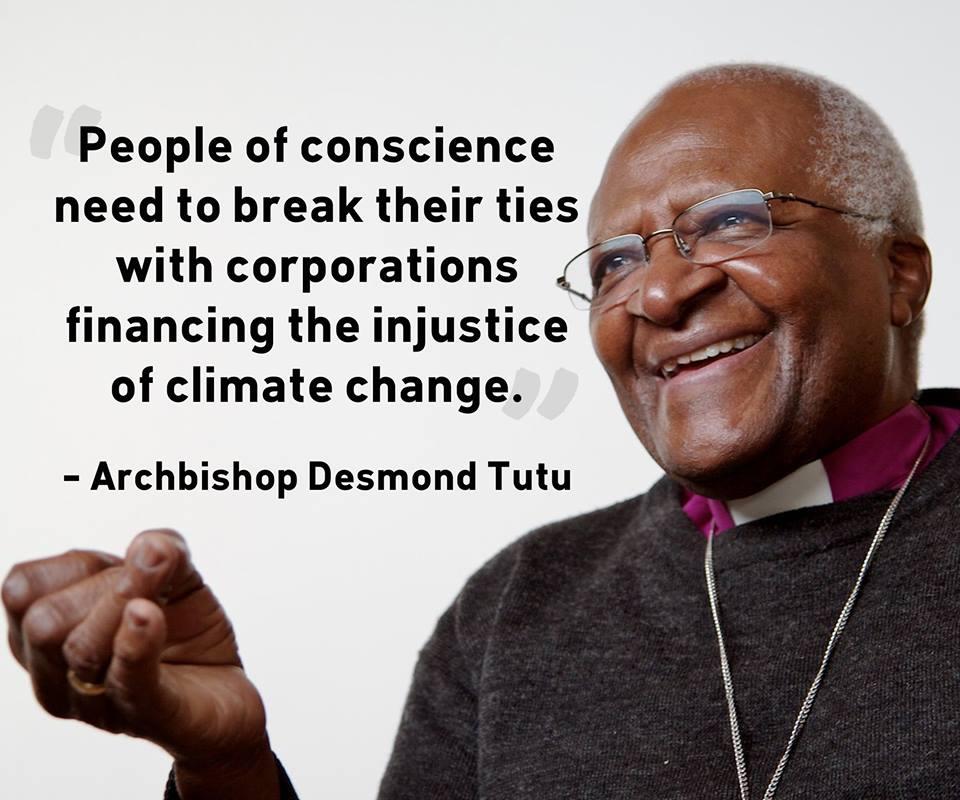 archbishop tutu fossil fuel divestment cop21 un