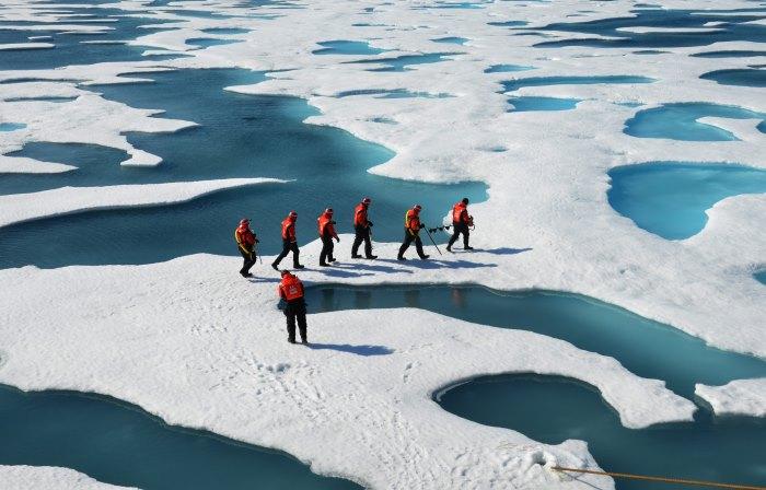 Sea ice researchers Arctic melt ponds