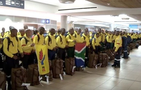 South African firefighters at Edmonton, Alberta airport