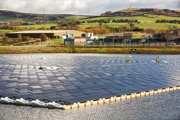 new floating solar farm grid Hyde Manchester UK electricity production