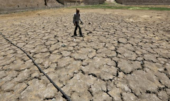 A man walks through a dried-up Sarkhej lake on a hot summer day in Ahmedabad, India, April 21, 2016. REUTERS/Amit Dave/File Photo