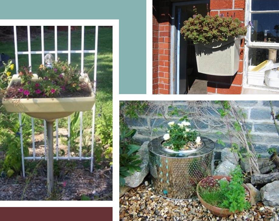creative re-use containers for garden