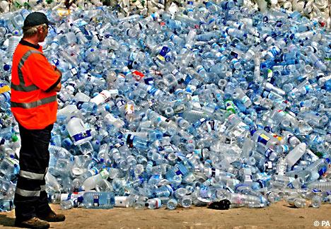 Plastic water bottle mountain