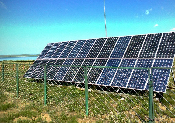 solar array with 24 solar modules in Mongolia