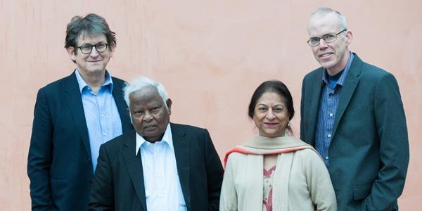 Alan Rusbridger (left), Basil Fernando, Asma Jahangir, and Bill McKibben (right)